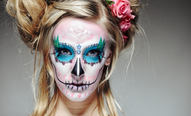 Santa Muerte Sugar skull halloween makeup tutorial