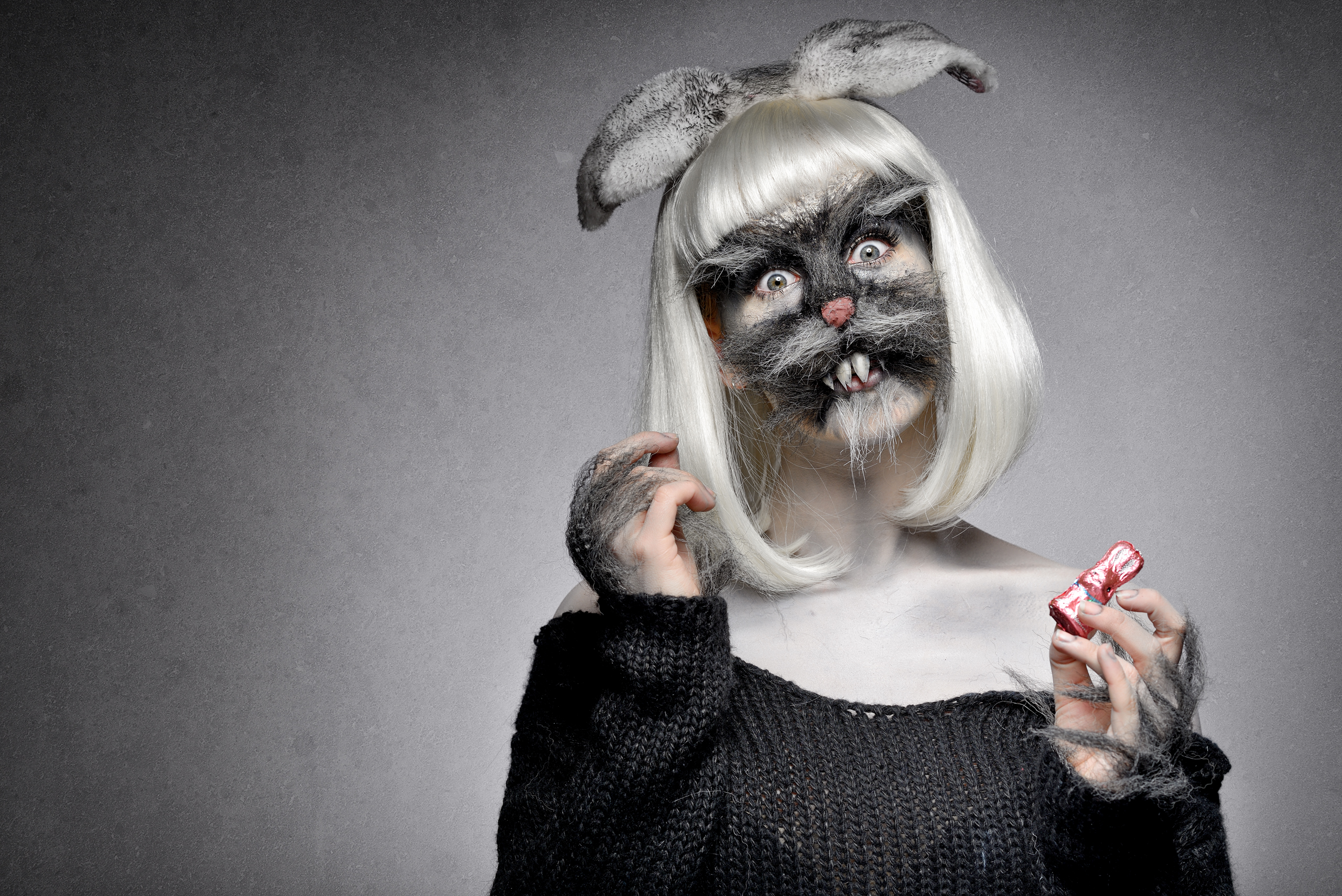 Freaky bunny halloween makeup tutorial by Ellimacs