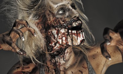 Gory zombie halloween makeup tutorial