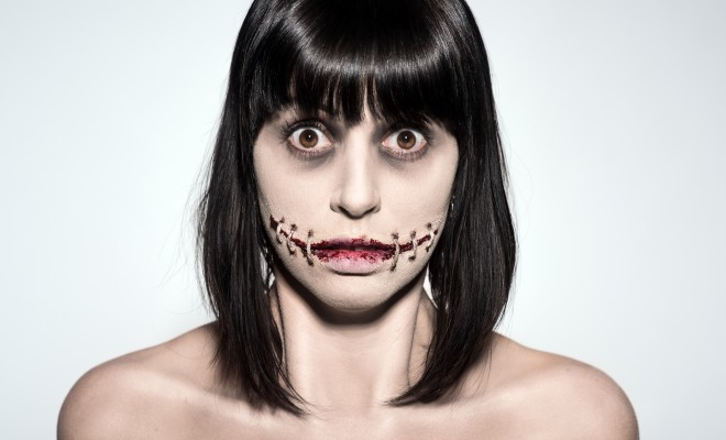 Stitched mouth halloween makeup tutorial
